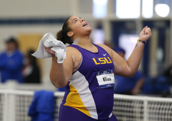 02-27-15 MWTR SEC Indoor Championships LSU senior Tori Bliss celebrates, Friday, February, 27, 2015, after winning the shot put title and setting a new meet record of 60 feet, 1 inch at the SEC Indoor Track and Field Championships in Lexington, Ky. Photo by Kelly Price