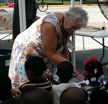 Sunday School teacher Judith Hunter with kids