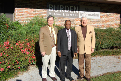 "Radio Bible Courses, Ltd., teachers (L. to R.) Jack Lynch, Rev. Louis J. Hilliard and board president James ""Jimmy"" Gill, meet with 50 to 100 members of their classes each Sunday morning at the Burden Center."