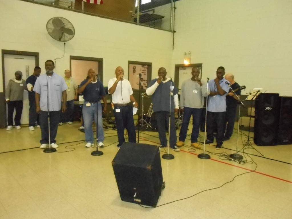 Worship band led by inmates.