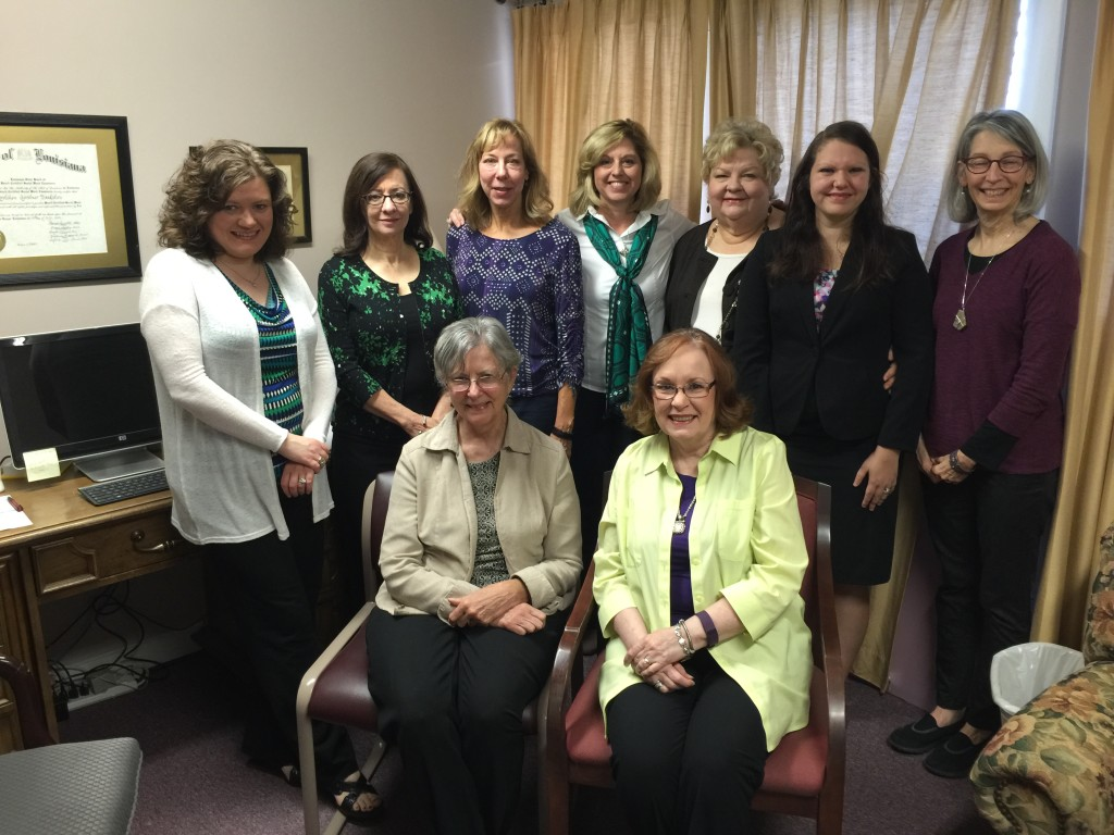 Back row: Anita Lopez, LPC; Kathie Moise, LCSW;   Lisa Meyerer, LCSW; Dana Booth, LCSW; Gretchen Bankston, LCSW; Lyn McElroy, Graduate Intern; Carol Steiner, Office Administrator Front Row: Mary Ann Abel, LCSW; Kathy Vilas, LCSW, Executive Director  Not pictured: Danny Williams, LCSW