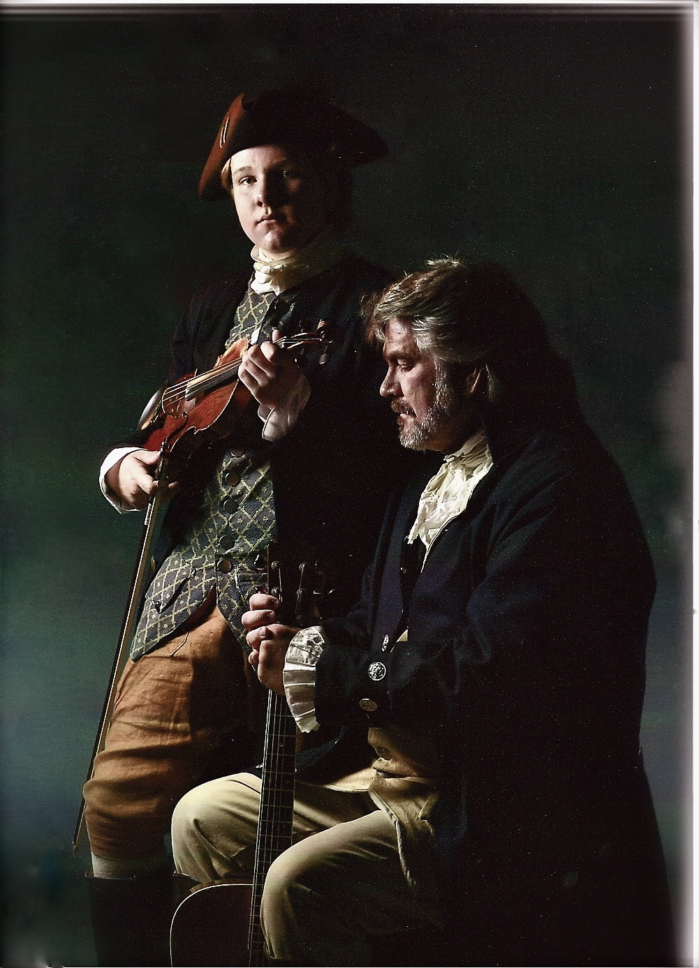 James and Jim Hogg dressed in Revolutionary War attire.