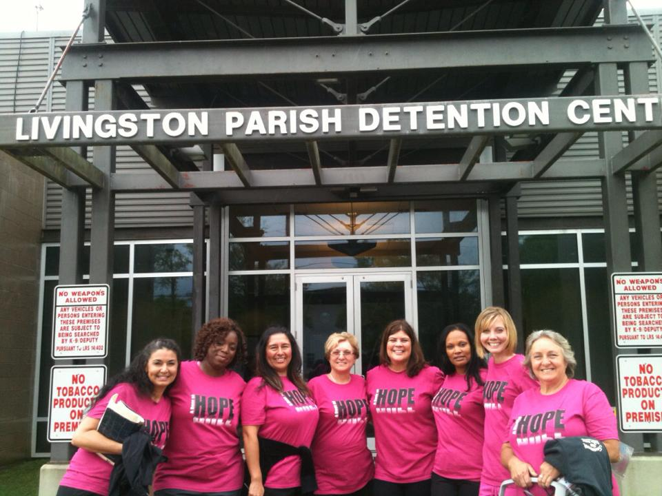 A Door of Hope counselors make regular visits to the Livingston Parish Detention Center to visit female inmates and offer them spiritual healing.