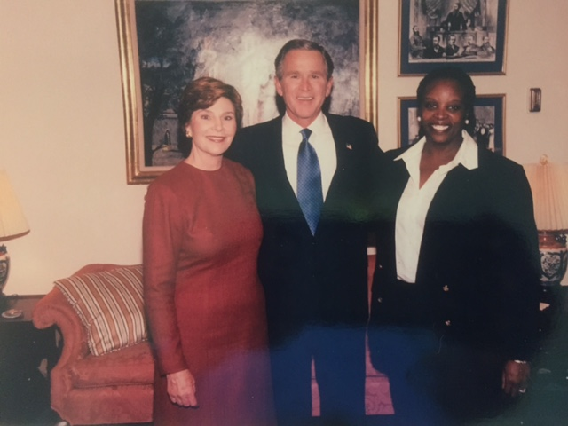 Tonja with First Lady Laura Bush and President George Bush.
