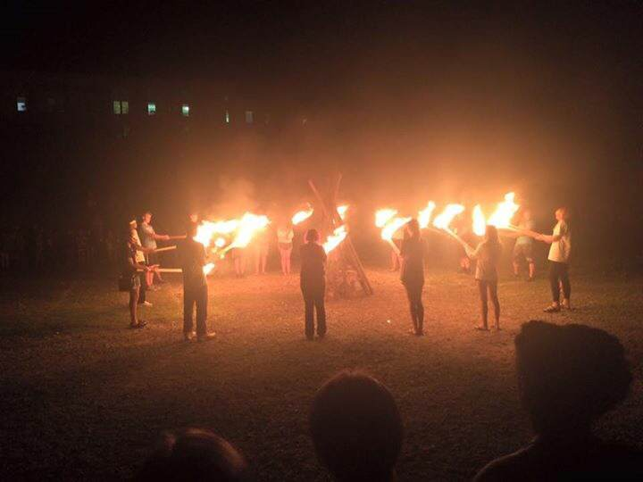 The Fire of Friendship on the camp's final night.
