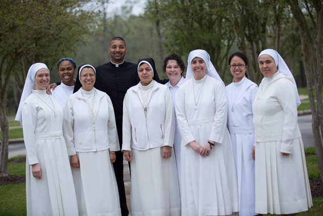 Father Joshua spends time with the Mercedarian Sisters of the Blessed Sacrament.