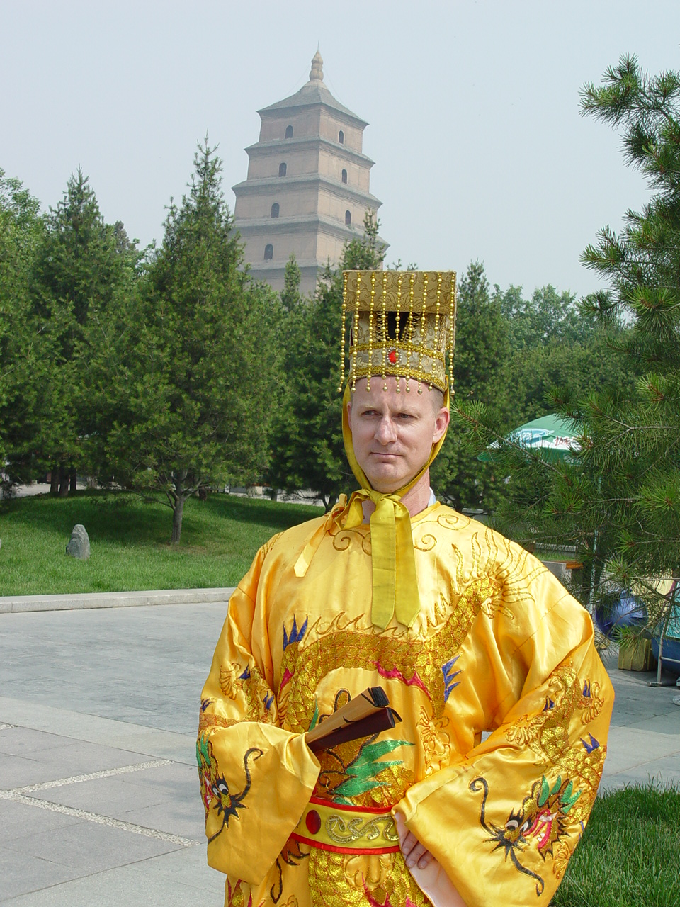 Rev. Rick Wright wears traditional Chinese dress during his 2010 trip to China to visit former international students.