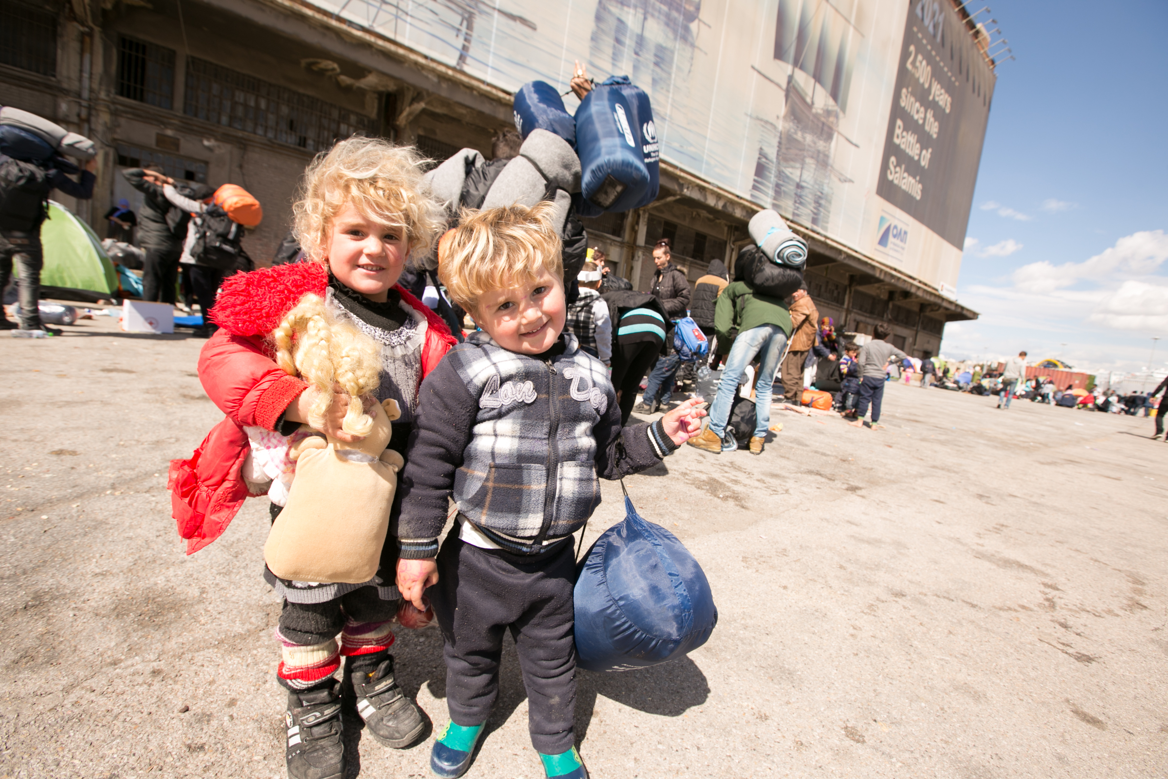 Two young Roma children pose for the camera in Slovakia