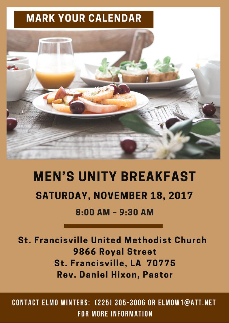 November Men's Unity Breakfast @ St. Francisville United Methodist Church | Saint Francisville | Louisiana | United States